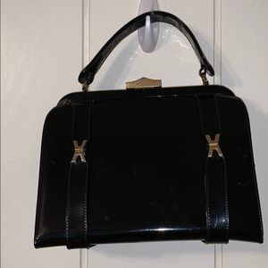 Vtg Sheldon Originals black patent satchel purse